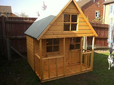 Shedrite 8X6 Mini Swiss Playhouse Inc 2Ft Porch Made Using T&g *sale Now On*