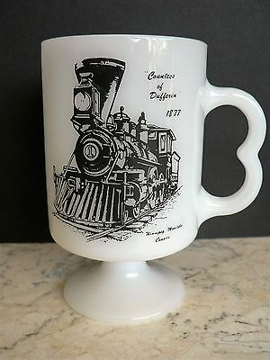 Vintage FEDERAL Footed Mug Countess of Dufferin 1877 CPR Railway Milk Glass