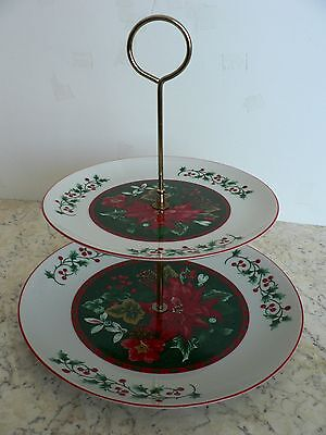 Two Tier Holiday/Christmas Server Poinsettia Holly & Ivy Trim Made in Japan