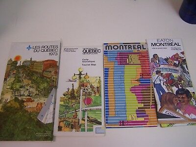 4 Vintage Montreal and Quebec Maps - 1970s