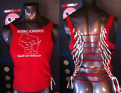 DIY VTG Wisconsin State T Shirt L XL Smell Our Dairy Air Cows Cheese Cheesehead