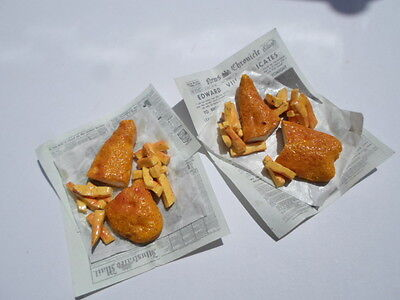 Barbie Sindy doll food traditional fish and chips for two