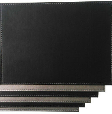 6 x Faux Leather Placemats - Reversible Silver & Black