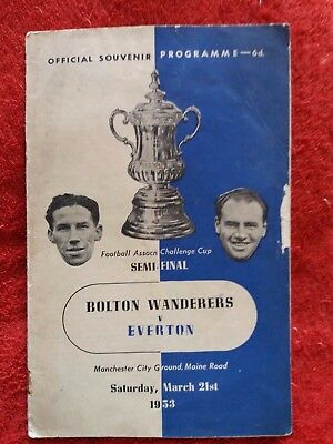 Bolton Wanderers V Everton Challenge Cup Semi Final March 21st 1953 Programme