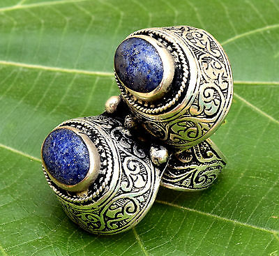 Lapis Afghan Tribal Silver Kuchi Ring Jewelry Bohemian Carved Ethnic Gypsy Boho