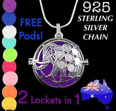 Elephant Star Boho Aromatherapy Oil Diffuser Locket 925 Sterling Silver Necklace