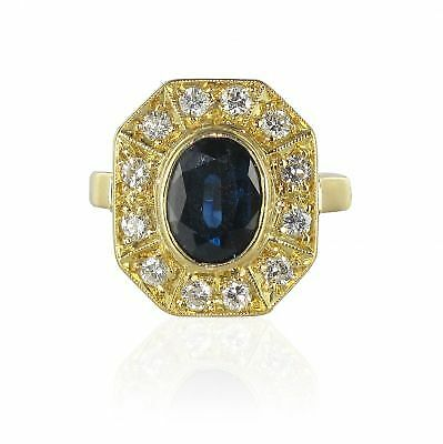Sapphire Ring diamonds yellow gold style art deco Ring