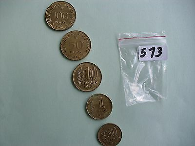 5 Argentinian coins 1971 to 1981 collectors hobby collection lot monedas # 573
