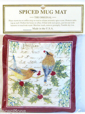 Alice's Cottage Cotton Scented Spiced Mug Mat Coaster Cedar Waxwing Bird - NEW