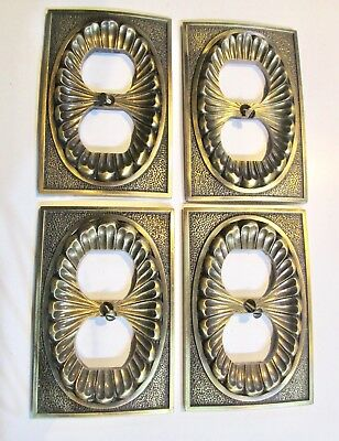 Lot 4 Vtg 1974 American Tack & Hardware Brass Electrical Outlet Socket Covers