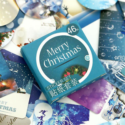 46pcs Merry Christmas Label Stickers For Stationery Scrapbooking DIY Diary Album