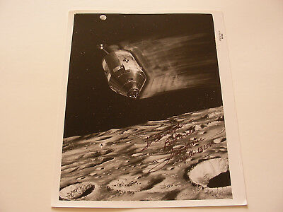 Apollo 13 Astronaut Fred Haise Hand-Signed Vintage NASA Photo CSM Over Moon
