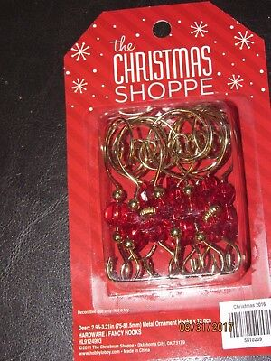 12 Gold Swirl Decorative Christmas Tree Ornament Hooks with red beads.