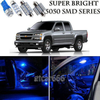 8pcs Blue LED Interior Lights Bulb Package Kit For Chevy Colorado 2004-2012