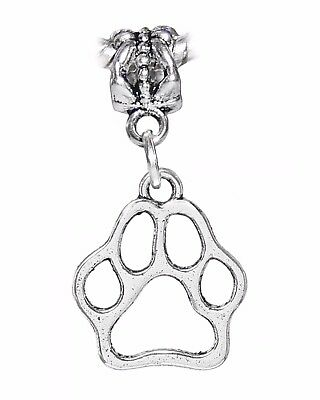 Dog Open Paw Print Puppy Animal Foot Track Dangle Charm for European Bracelets