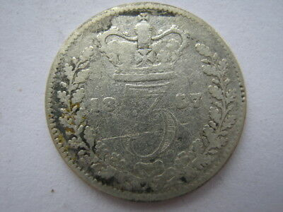 1857 Young Head silver Threepence Poor