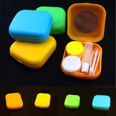 Mini Container Easy Carry Pocket Size Travel Kit Contact Lens Case Set Mirror