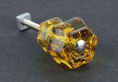 Vintage Depression Style ~ AMBER ~ Glass Cabinet Drawer Pull Knob ~ Lot of 6