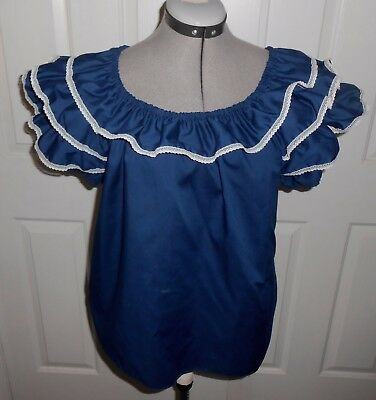 Womens Vintage Peasant Frilly Top Blouse Medium Malco Modes Partner's Please