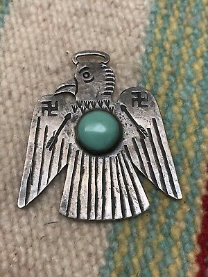 Old Pawn Navajo Fred Harvey THUNDERBIRD Pendant Fob Necklace Silver turquoise