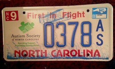 2008 North Carolina Autism Society Awareness Specialty License Plate Auto Tag Nc