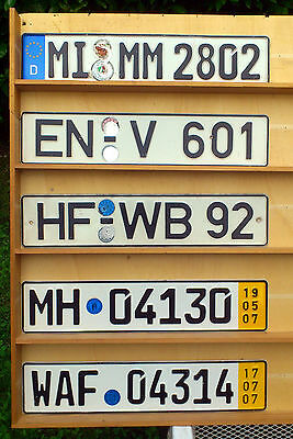 5 x German License Plates -  Direct from Germany