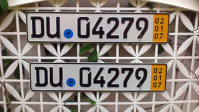 2 x Duisburg Temp. Plates (Pair) - Direct from Germany