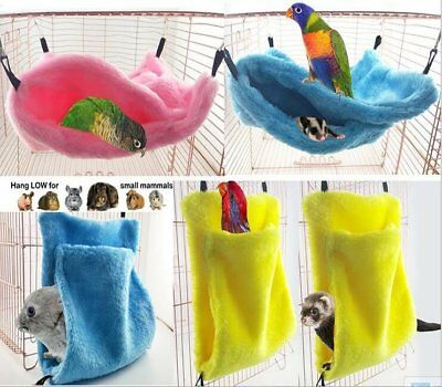 Bird Parrot Plush Hammock Cage Snuggle Happy Hut Tent Bed Bunk Hanging Cave Toy