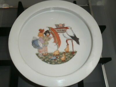 Antique Baby Bowl Food Dish Stork Ducks 1940S