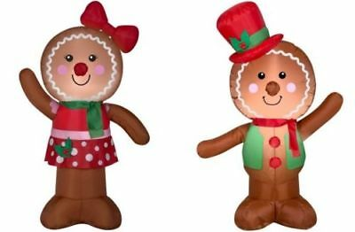 4ft Gemmy Airblown Inflatable Christmas Gingerbread Boy Girl Couple Holiday NEW