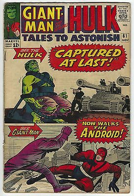 Tales to Astonish #61 4.5 VG+ Giant-Man & The Hulk Silver Age Marvel Comic Book