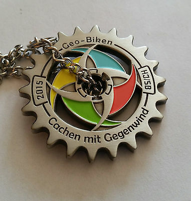 Bike & Cache 2015 Geocoin Happy Day LE 70 , Anti Silver Colorful - SOLD OUT !!!