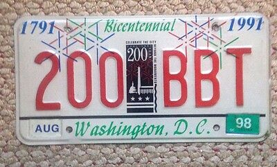 1998 Washington D.c. District Of Columbia Special 200 Years  License Plate Rare