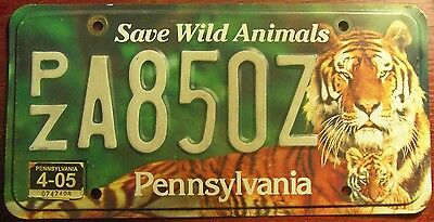 2005 Pennsylvania Wildlife Environmental Save Wild Animals Tigers License Plate