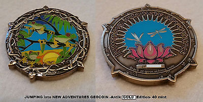 Jumping into New Adventures Geocoin - LE 40 - Antik Gold