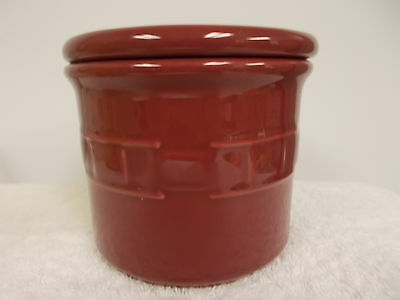 Longaberger Pottery Burgundy Crock Dish Bowl With Lid