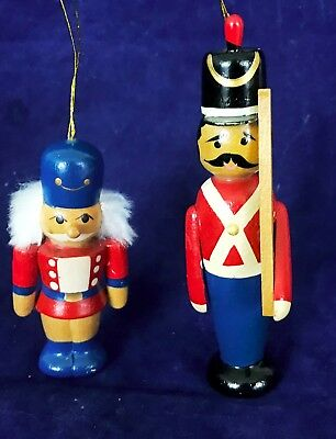 """Lot of 2 Vintage Wood Ornaments Soldiers 3"""""""