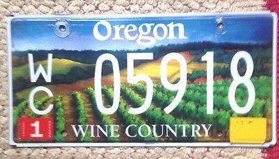 2000s OREGON WINE GRAPES VINEYARD COUNTRY VITICULTURE SPECIALTY LICENSE PLATE OR