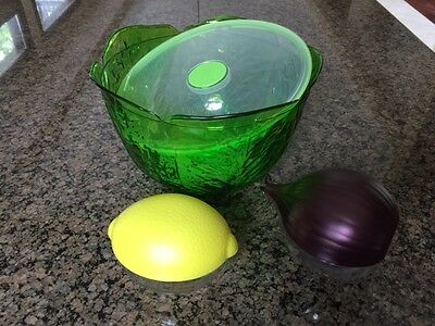 Snips salad bowl, lemon container keeper, onion box keeper