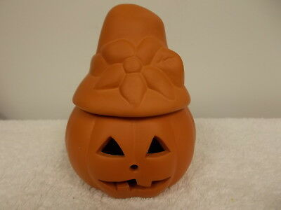 Vintage Small Terra Cotta Clay Halloween Jack O Lantern With Hat Candle Holder