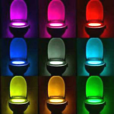 8 Colour Changing LED Toilet Bathroom Night Light Motion Activated Seat Sensor