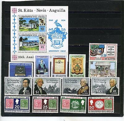 St.christopher/nevis/anguilla 1970-1986 Small Collection 14 Stamps & S/s Mnh