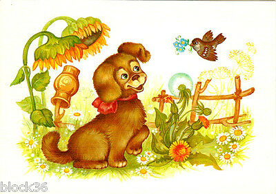 1990 Russian postcard with country life scene: BIRD BRINGS FLOWER TO PUPPY