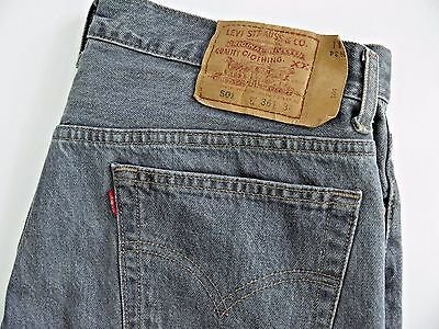 LEVIS 501 XX denim jeans mens 36x34 gray wash button fly red tab vtg MADE IN USA