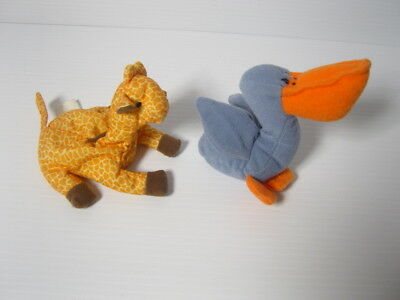 "2 McDonalds Happy Meal Ty Teenie Beanie Baby Scoop Pelican & Twiggs Giraffe 6"" E"