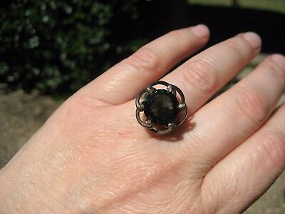 vintage sterling silver Mexico Mexican ring green glass stone unusual color sz 7