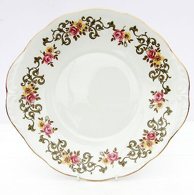 Vintage Queen Anne Bone China Floral Pink Roses Cake Plate
