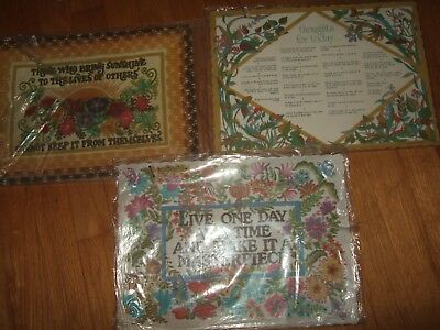 50+? Vintage Paper Placemats Set lot crewel thoughts for today one pack sealed