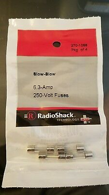 Slow-Blow 6.3-Amp 250-Volt Fuses #270-1068 By RadioShack NEW 5x20MM
