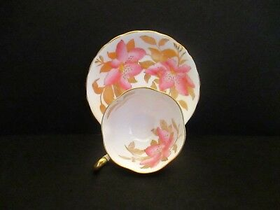 Royal Chelsea Cup and Saucer with Large Pink Flowers and Gold Leaves, England